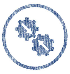 Gear integration fabric textured icon vector