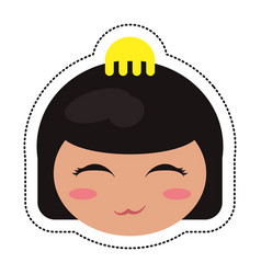 Kokeshi head face doll vector