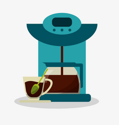Colorful coffee espresso machine with glass jar vector