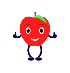 Cartoon character with a red apple vector