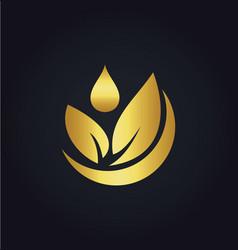 Organic green leaf bio gold logo vector
