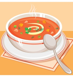 Tomato vegetable soup vector