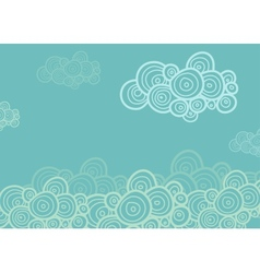 Stylized spiral clouds on the blue background vector image