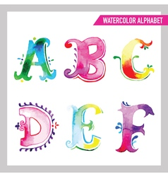 Watercolor alphabet - abc painted letters a-f vector