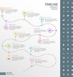 Timeline template in sticker style with set of vector