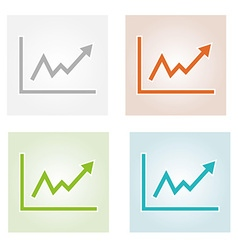 Growing graph icons vector