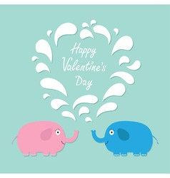 Happy valentines day love card pink and blue vector