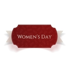 March 8 womens day red realistic card on ribbon vector