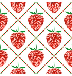 Pattern with ornamental strawberries and rhombus vector