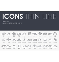 Transport thin line icons vector