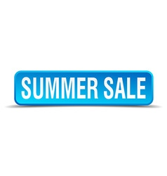 Summer sale blue 3d realistic square isolated vector