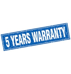 5 years warranty blue square grunge stamp on white vector