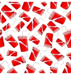Seamless pattern of fast food soda paper cups vector