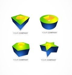 Abstract 3d logo shapes icon company vector image vector image