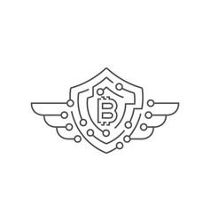bitcoin logotype protection concept editable vector image