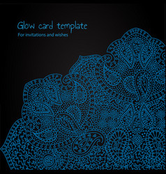 Blue glow psychedelic card vector