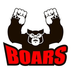 Boars logo for sports team angry pig aggressive vector