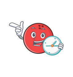 Bowling ball character cartoon with clock vector