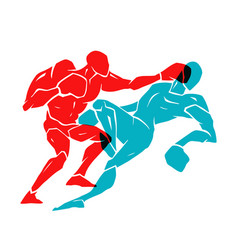 Boxing match silhouette of two professional boxer vector