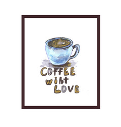 coffee love logo with hearth shape vector image