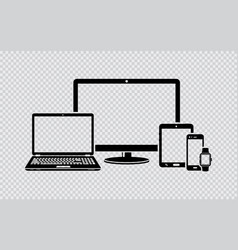 Digital devices black icons vector
