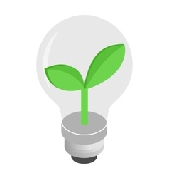 Eco lightbulb isometric 3d icon vector