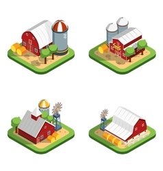 Farm isometric isolated compositions vector