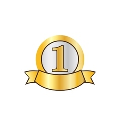 First place golden label icon flat style vector image