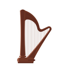 Flat style antique musical instrument harp vector