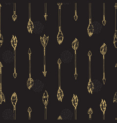 gold arrows seamless pattern - doodle arrows vector image