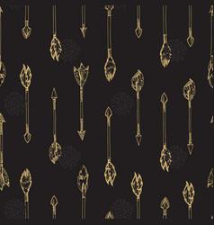 gold arrows seamless pattern - doodle arrows vector image vector image