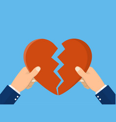 Hands tearing apart heart symbol vector