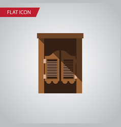 Isolated western wooden flat icon saloon vector