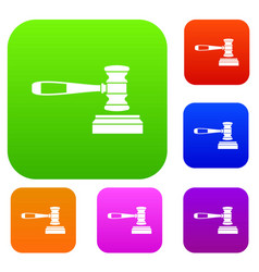 judge gavel set collection vector image vector image