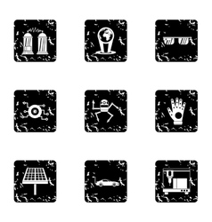 Latest electronic devices icons set grunge style vector