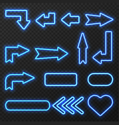 Neon sign arrows symbols set vector