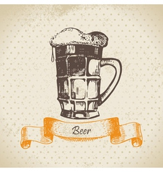 Oktoberfest vintage background with beer vector image vector image