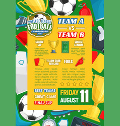 poster for college team soccer football vector image