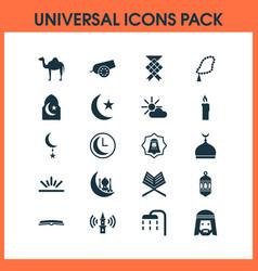 Ramadan icons set with arabian human nachmittag vector