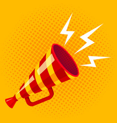 retro striped megaphone vector image vector image