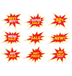 Sale label price tag banner star badge template vector