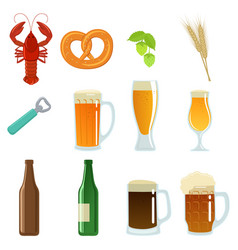set of beer glasses bottle and snack vector image vector image