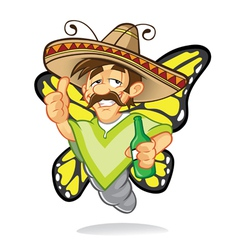 sombrero drunken butterfly vector image