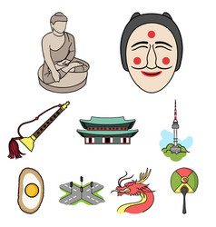 south korea set icons in cartoon style big vector image vector image