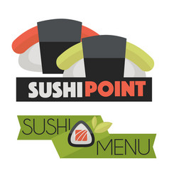 sushi point menu logo design vector image vector image