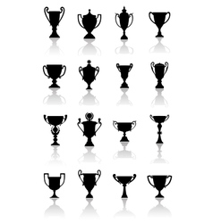 Trophy cups set vector image vector image