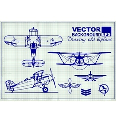 Vintage airplanes drawing on graph paper vector image