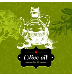 Vintage olive background with hand drawn sketch vector image vector image