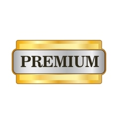 Premium golden label icon in flat style vector