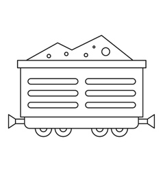 Train waggon with coal icon outline style vector